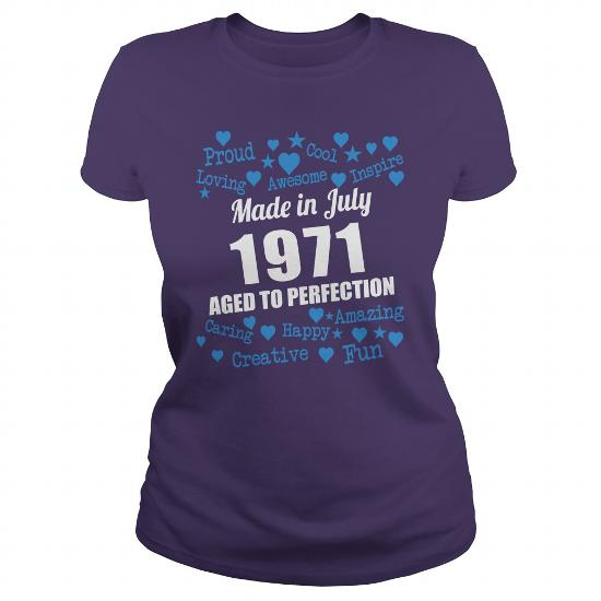 Made In July 1971 Aged To Perfection Shirts, July 1971 T-Shirt, Born July 1971, July 1971 Aged To Perfection, 1971S Shirts, Born In July 1971